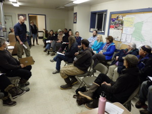 About 40 people gathered to talk about the shut down Mosquito Lake School building.