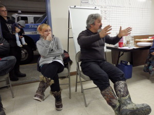 Mosquito Lake residents Sarah Marquardt and Joe Ordonez at the meeting.