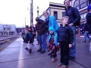 5-year-old Isaac Powell waits for the Santa Train to arrive.