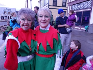 Skagway residents Barb Brotherson and Candy Colhousen dressed up as elves.