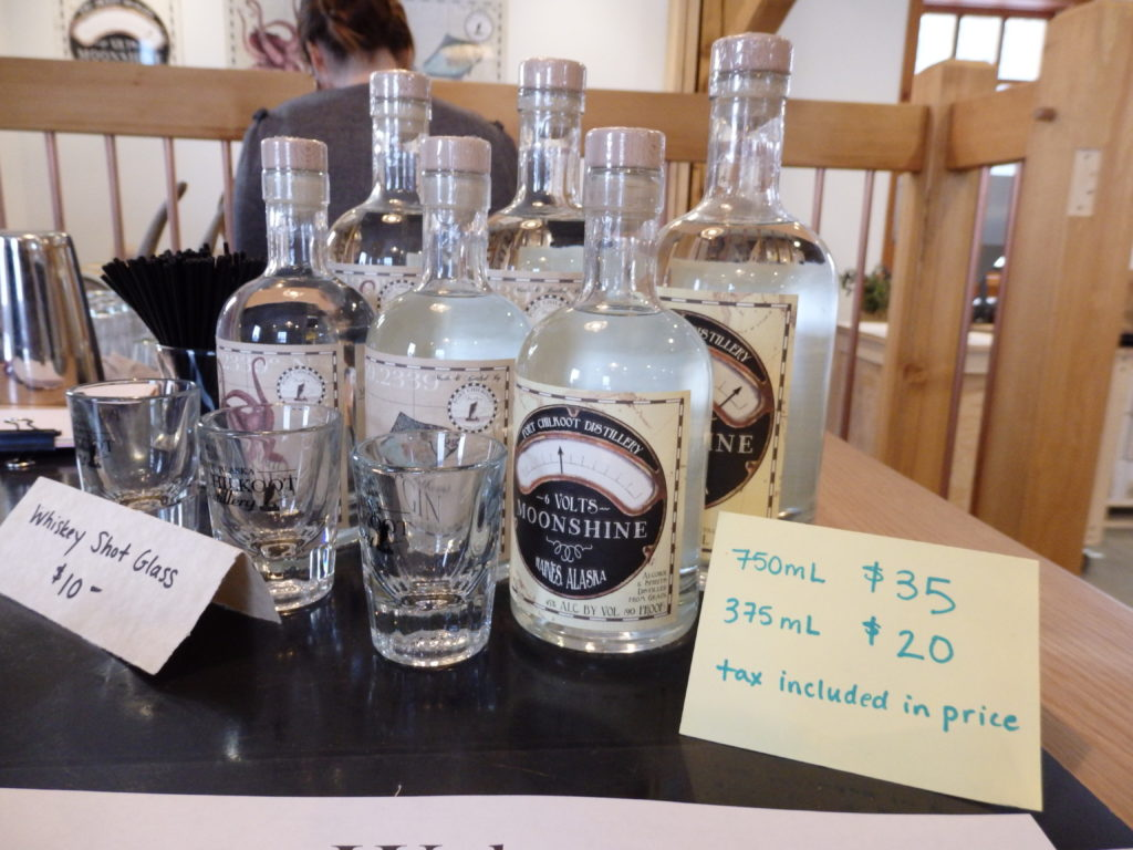 Port Chilkoot Distillery Icy Strait Vodka, 50 Fathoms Gin and 12 Volts Moonshine can now be sold on-site in limited amounts.