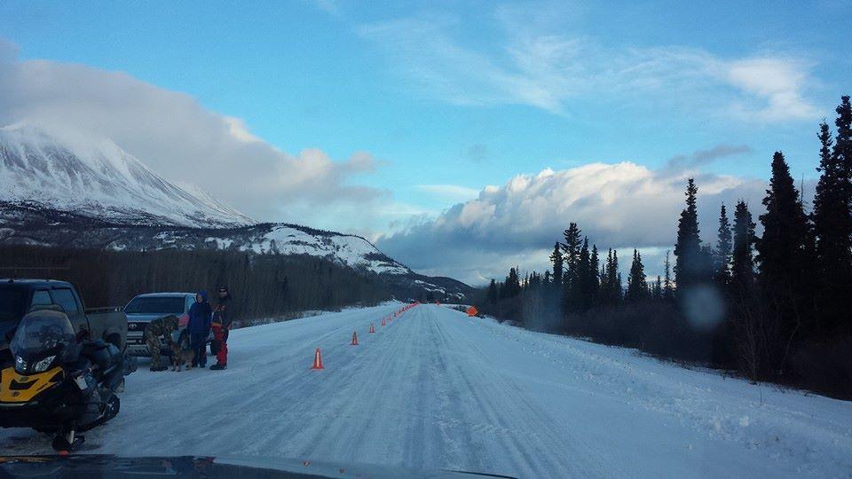 Snowmachines on the race course. (Evangeline Willard Hoy)