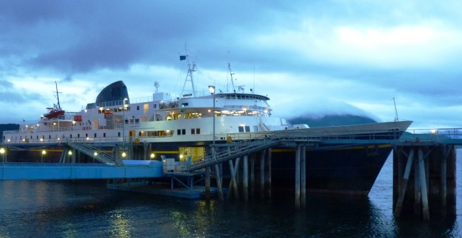 The ferry Malaspina waits to sail out of Juneau's Auke Bay terminal in 2012. It will be tied up in July and August under a budget plan that moved out of a House Finance Committee panel on Thursday. (Ed Schoenfeld/ CoastAlaska News)