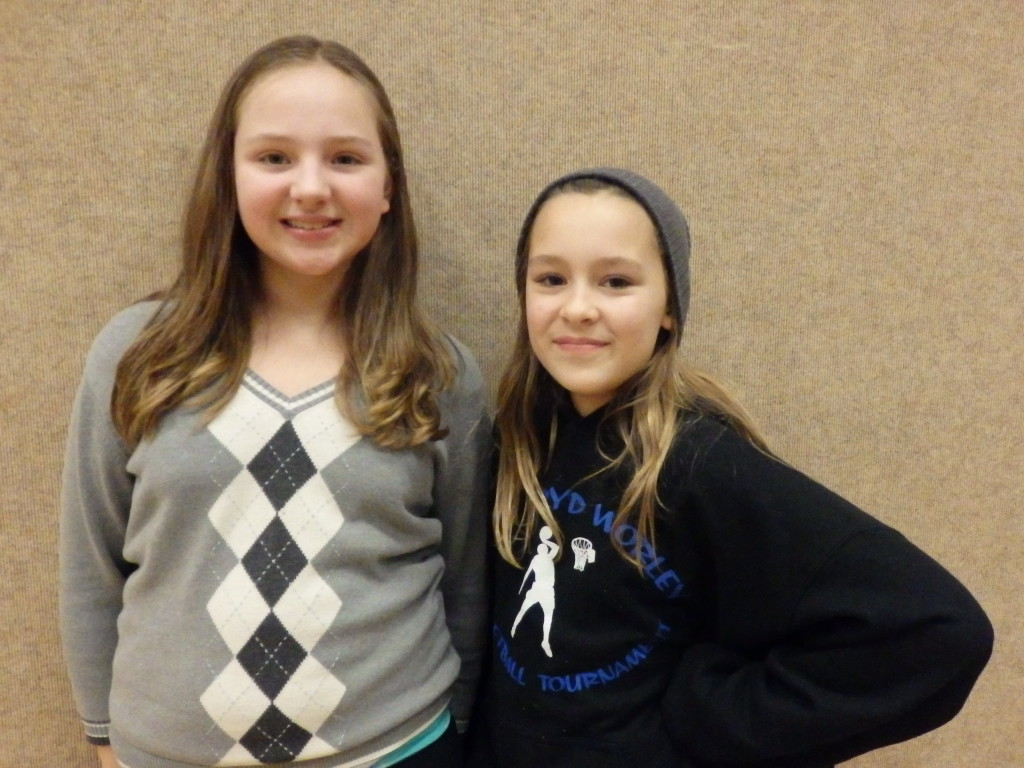 Peyton Rodig and Tatum Sager participate in robotics and the spelling bee. Sager won the spelling bee this year.