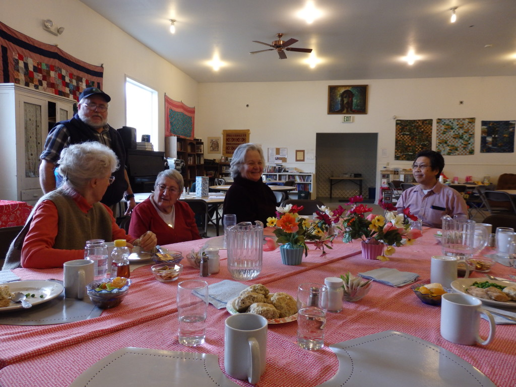 "Skagway ""geezers"" gather at the Presbyterian Church for lunch on a recent Friday."