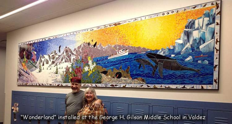 The Svensons and their most recently completed mosaic in Valdez.