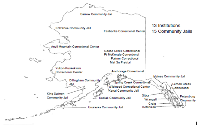 A map of current community jails and DOC corrections facilities.