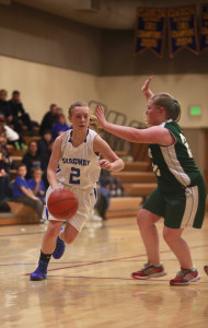 Madison Cox breaks through the defense during the Boyd Worley Tournament earlier this year. (photo by Elise Giordano)