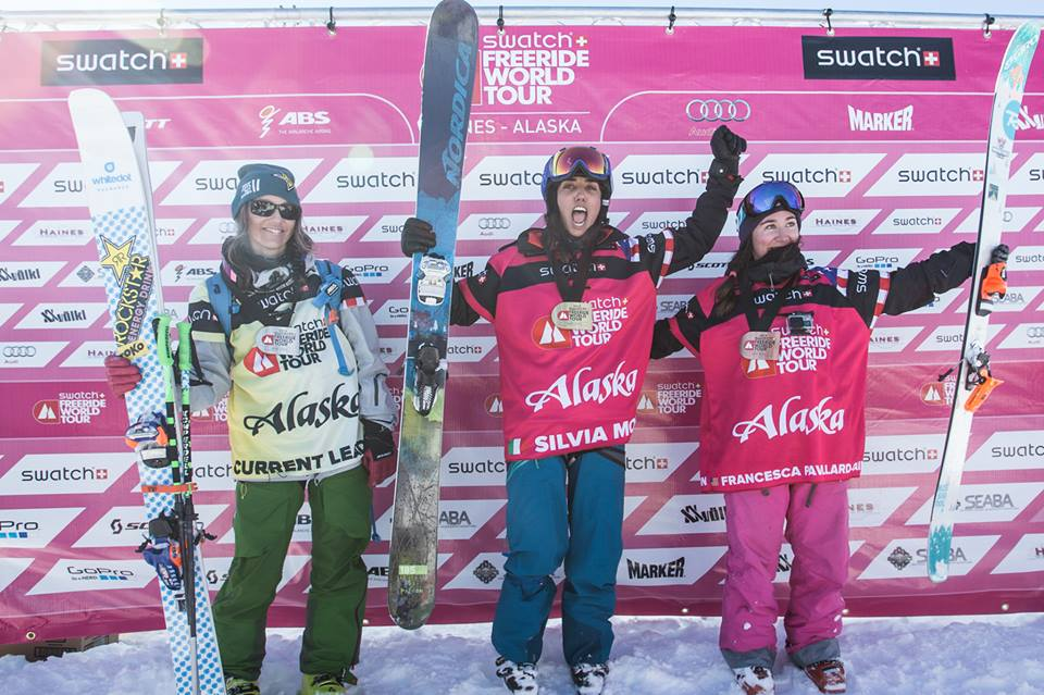 The three top-scoring female skiers Eva Walkner, Silvia Moser and Francesca Pavillard-Cain. (Facebook/D.Daher)