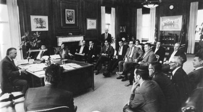 Gov. Hickel meeting with native leaders during ANCSA talks. Image from Alaska State Library – Historical Collection.