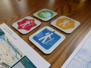 Examples of the new markers to be placed on hiking trails.