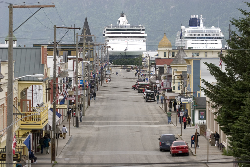 Cruise ships loom over Skagway's Broadway Street. (Courtesy Skagway CVB)
