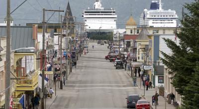 Cruise ships loom over Skagway's Broadway Street. (Courtesy Skagway CVB)