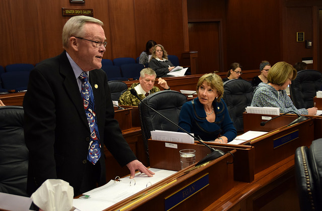 Sen. Dennis Egan on the Senate Floor April 3, when he introduced a bill to restore funding for one Haines forester position. The amendment failed.