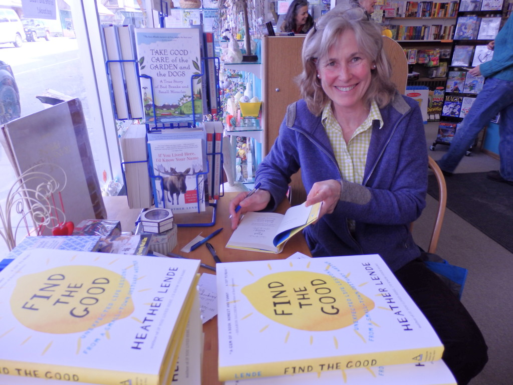 Heather Lende signs copies of Find the Good at the Babbling Book in Haines. (Credit: Emily Files)