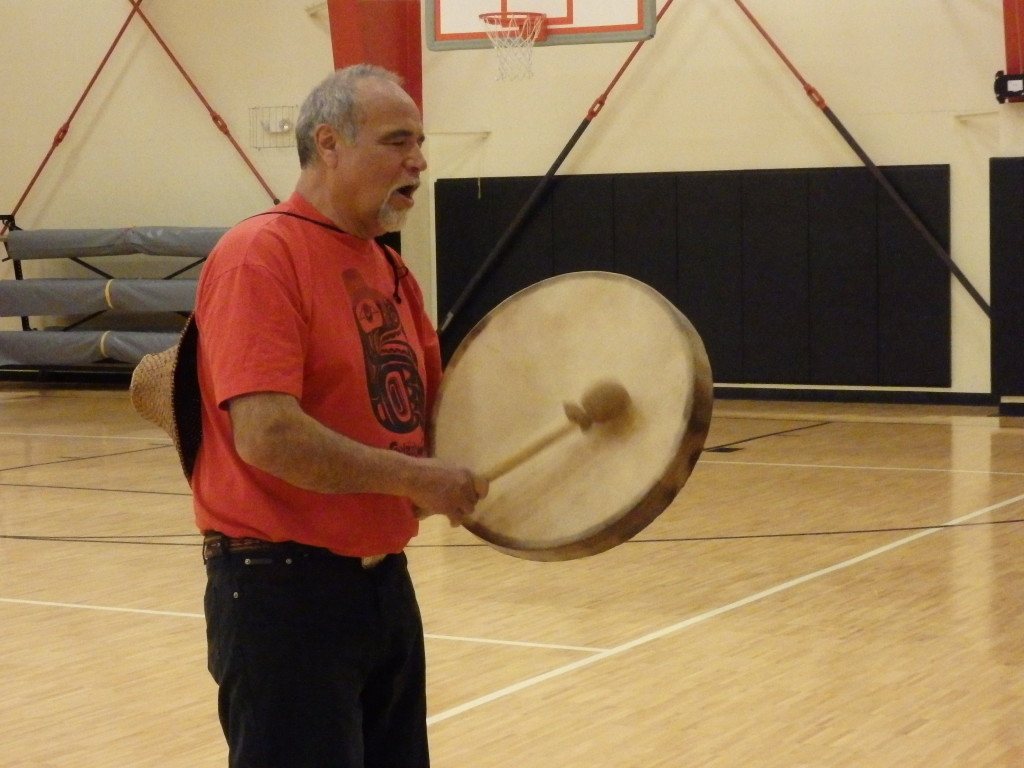 Jack Strong teaches Tlingit song and dance.