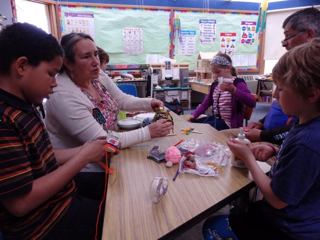 Mary Jane Valentine teaches weaving.