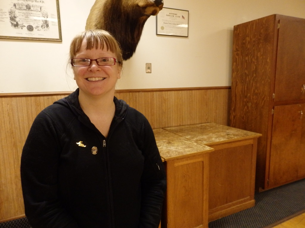 Brittney Thomas, the first female exalted ruler of the Skagway Elks.