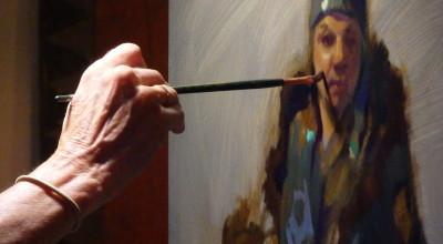 Lea Colie Wight paints Lani Hotch. (Emily Files)