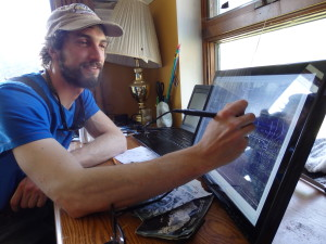Jeff Moskowitz uses Adobe Illustrator to digitally recreate a map from 1905. (Emily Files)