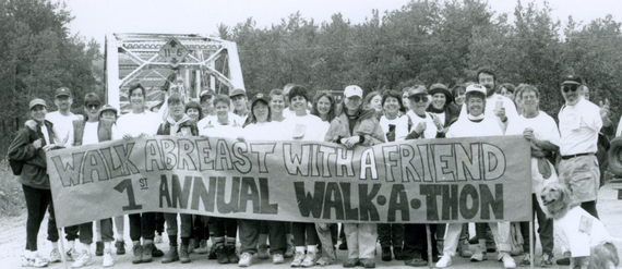 A Skagway News archive photo shows participants of the first walkathon.