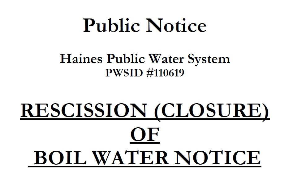State announces Haines water safe; boil notice cancelled