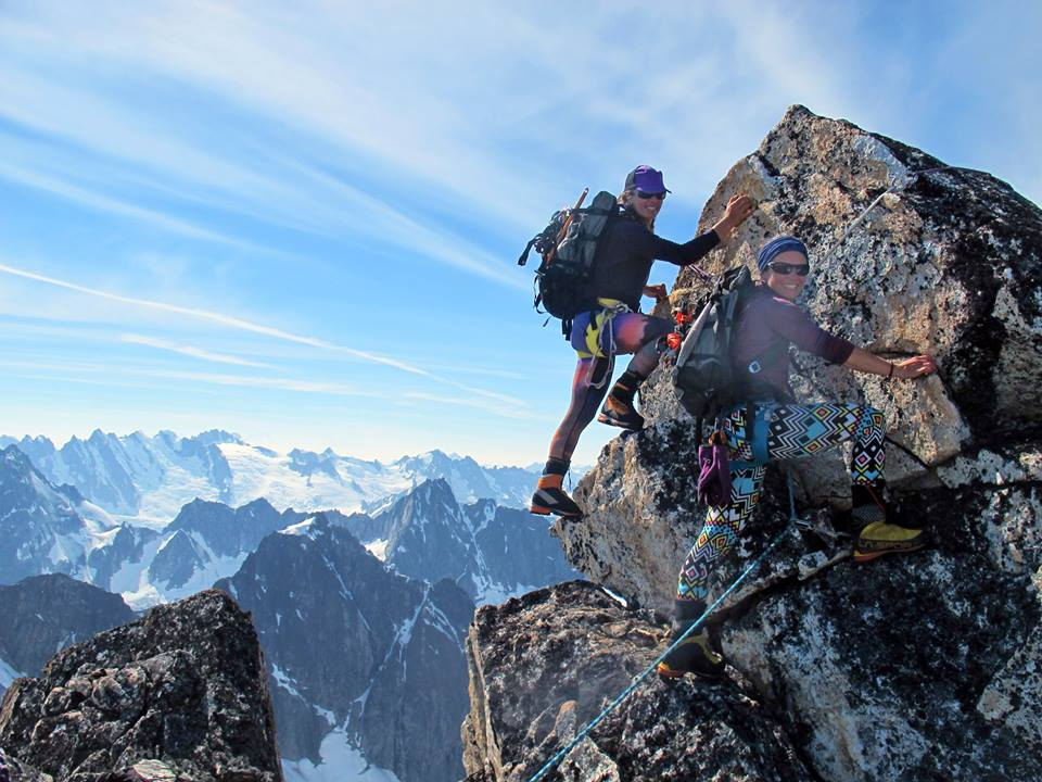 Jenn Walsh and Jessica Kayser Forester summit Mt. Emmerich. (Credit: Kevin Forster)