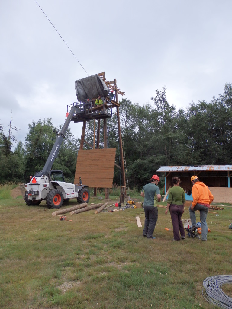 Volunteers earlier this month working on the tower. (Greta Mart)