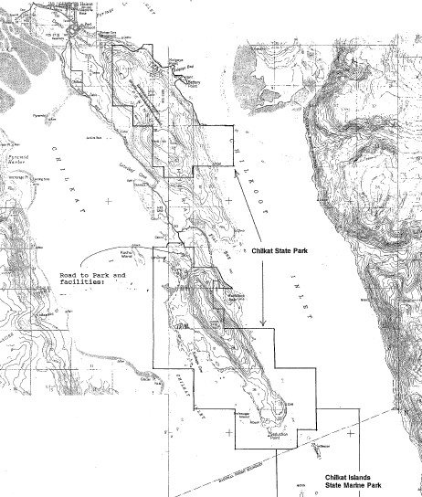 DNR map of Chilkat State Park boundaries.