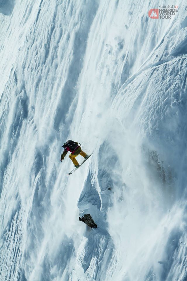 Snowboarder Flo Orley in the Haines competition. (Dom Daher/Freeride Facebook)