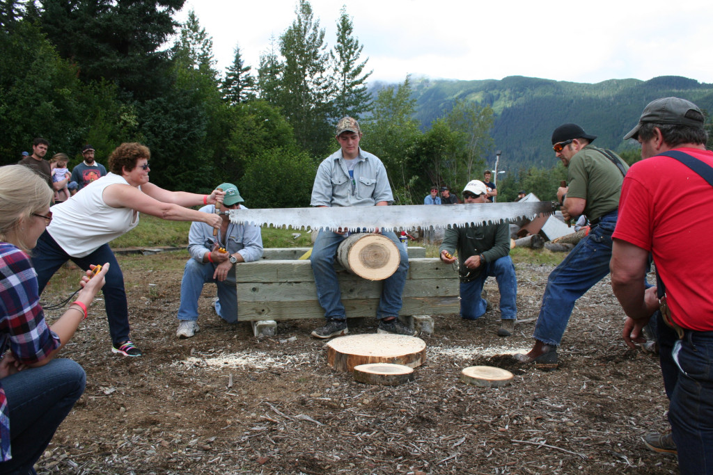 Fair organizers say competitions like the logging contest attracted more people than in the past few years. (Greta Mart)