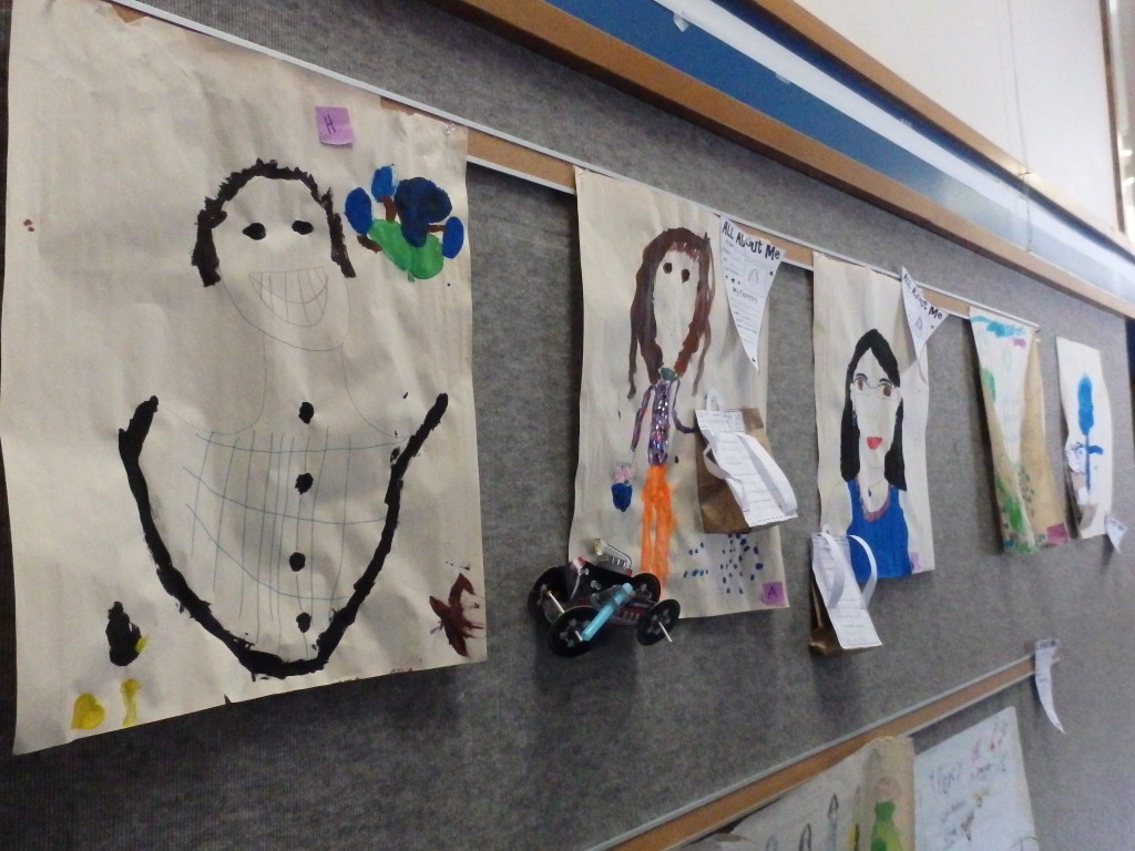 Children's artwork on the wall at Klukwan School in March. (Emily Files)