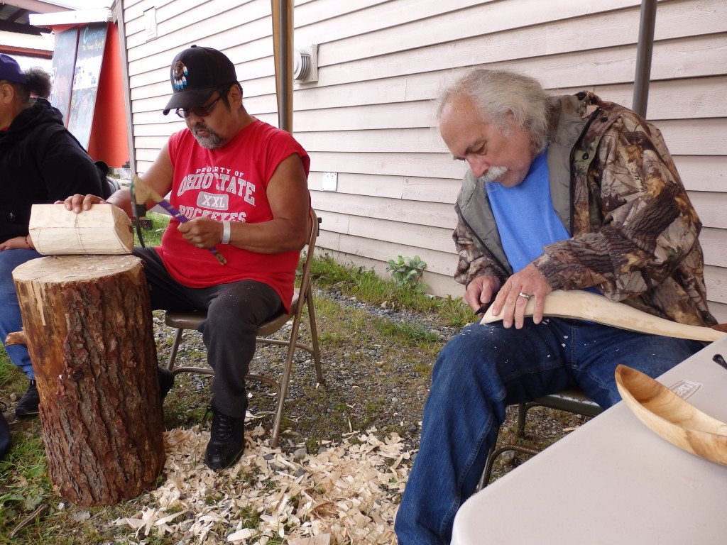 Joe King and Jim Heaton set up a carving tent at the fair. (Emily Files)