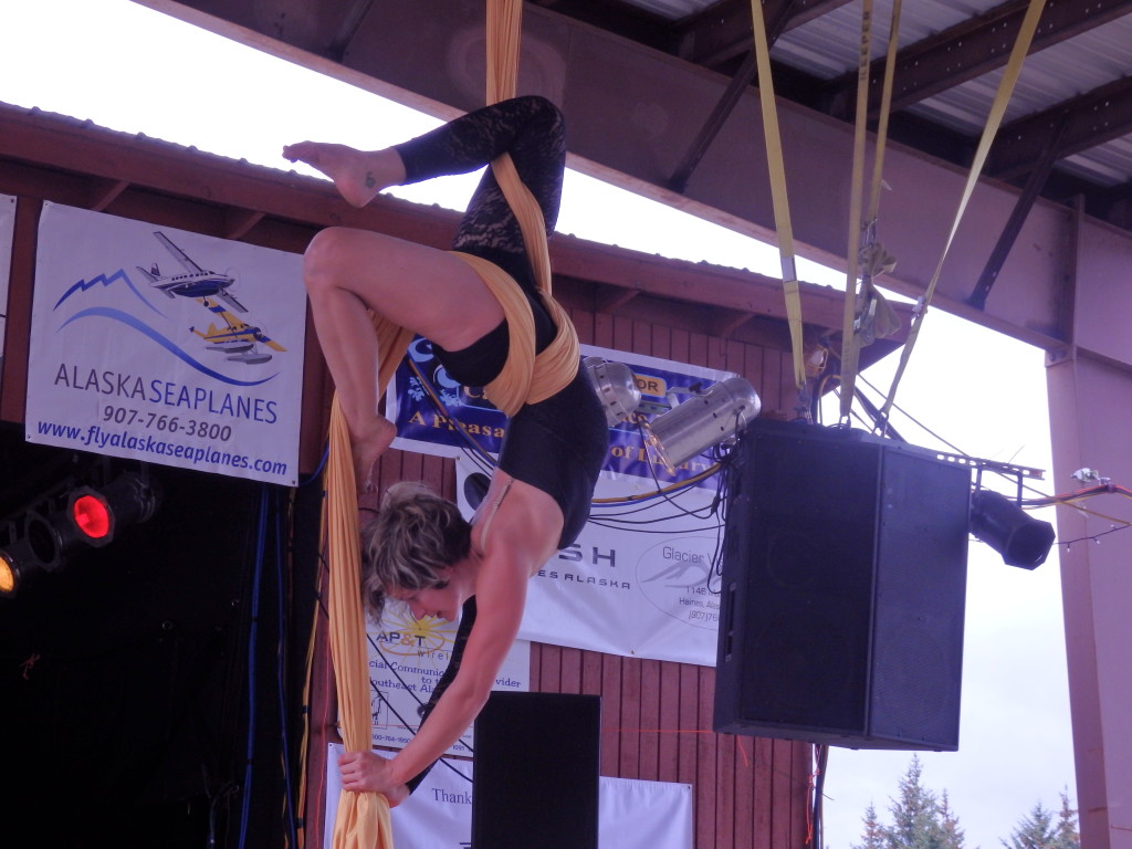 A member of the Sitka Silkies performs an aerial stunt. (Emily Files)
