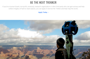 A screen shot of Google's Street View Trekker program website.