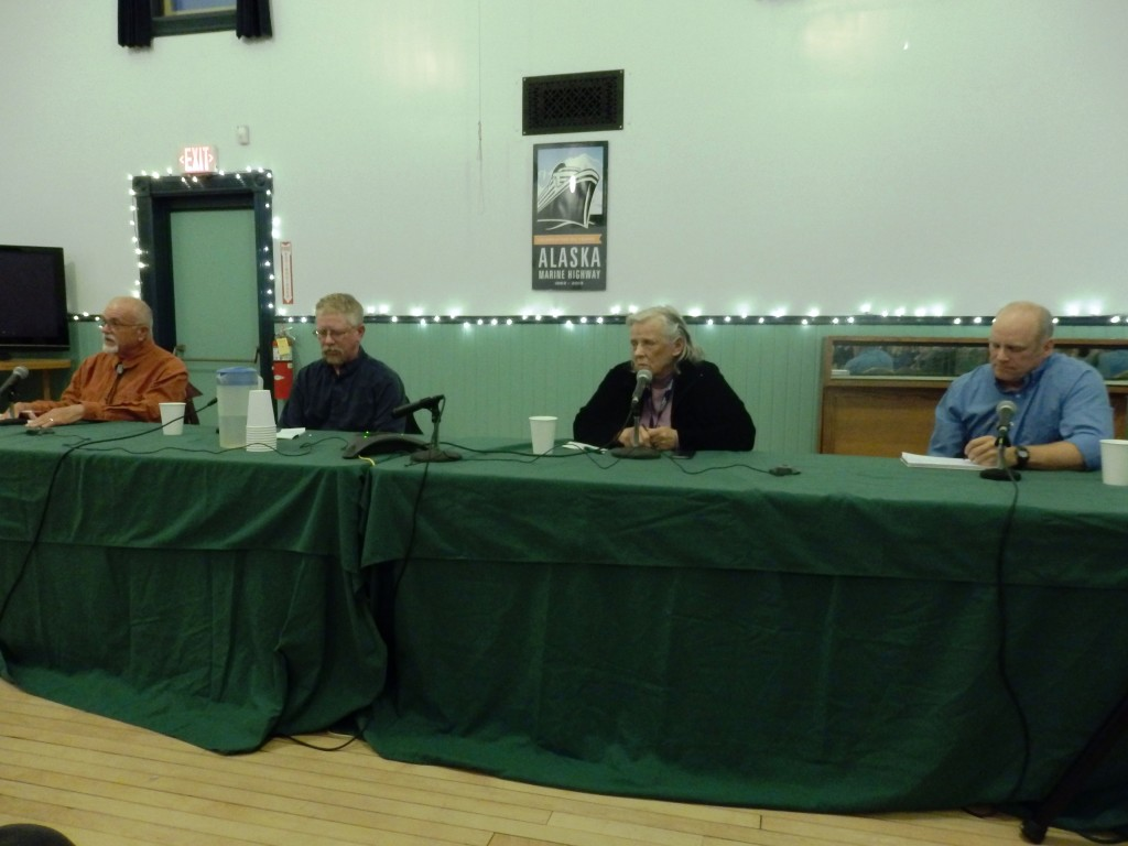 Candidates Roger Griffin, Mark Schaefer, Mavis Irene Henricksen and Jay Burnham. (Emily Files)