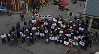 Ferry supporters gathered in Skagway on Friday for the S.O.S. rally (Elise Giordano/ Skagway News)