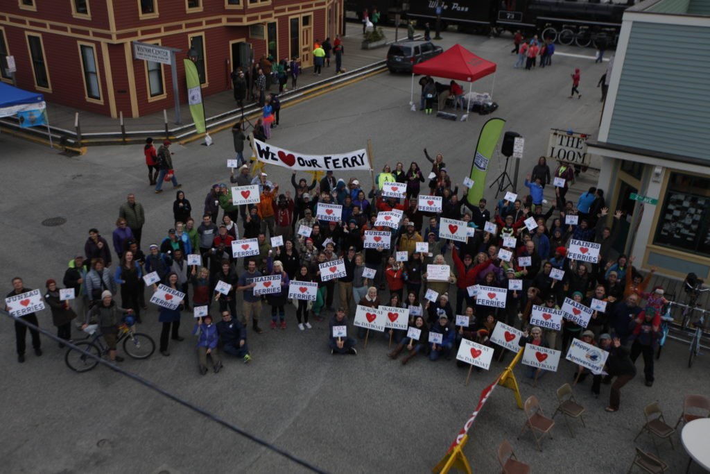 Ferry users, supporters rally in Skagway