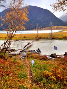 The wrecked Chilkat Lake weir. (Courtesy ADF&G)