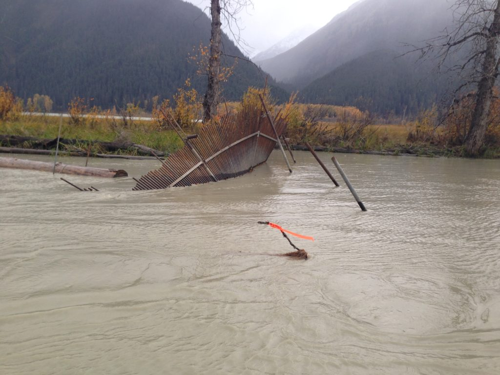 Chilkat River weir destroyed by rough waters