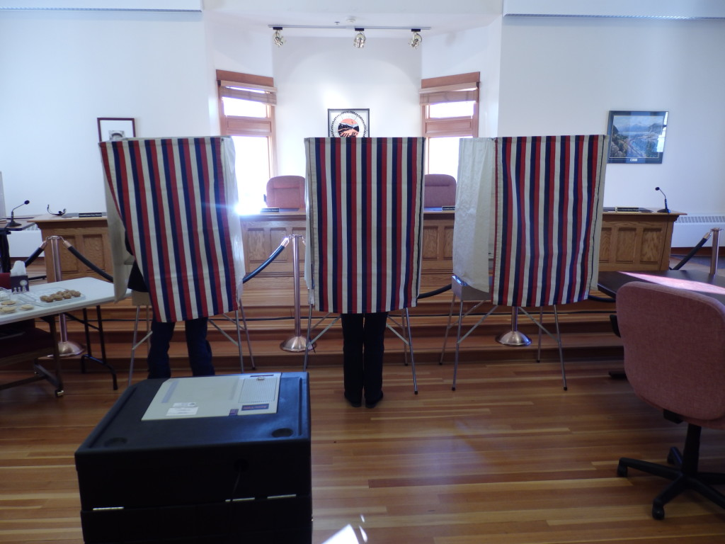 Skagway residents cast votes on Tuesday. (Emily Files)