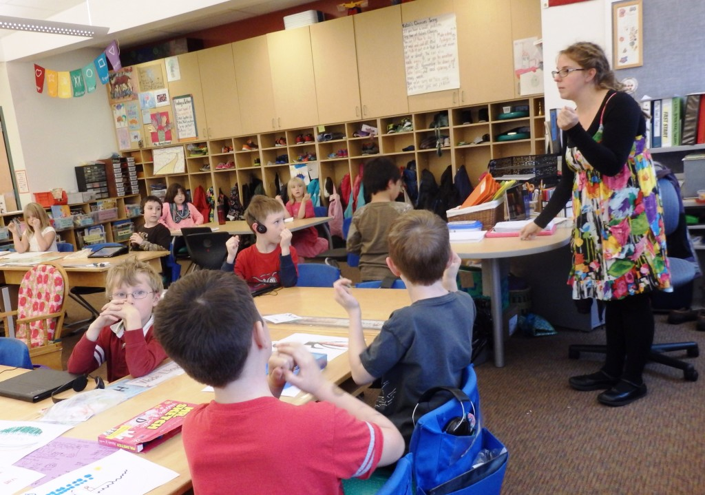 Teacher Sophia Armstrong in her combined K/1 class with 15 first graders and five Kindergarteners. (Emily Files)