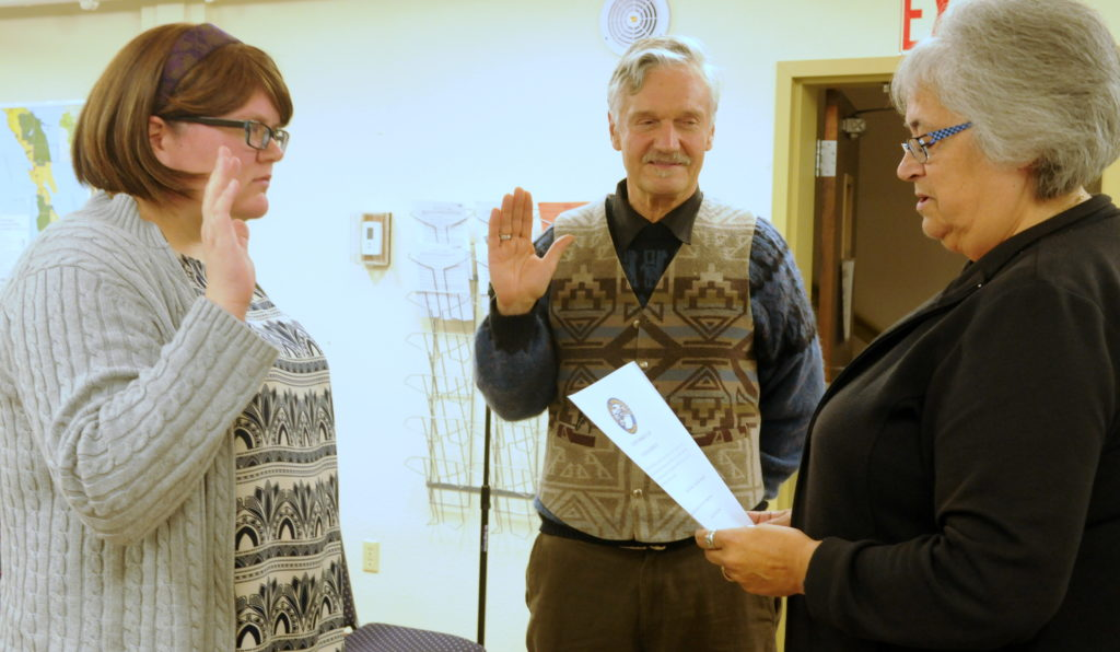 Margaret Friedenauer and Tresham Gregg were sworn in as Haines Borough Assembly members Tuesday evening. (Jillian Rogers)