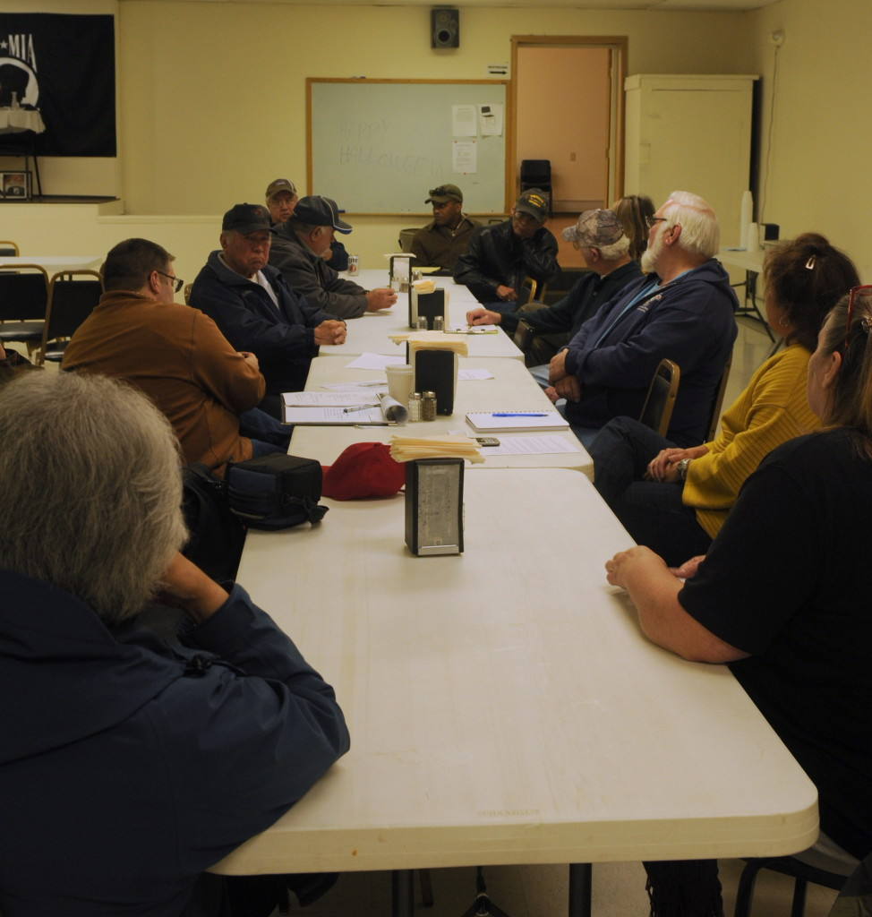 A handful of Haines veterans met last week with officials from the offices of U.S. Senators Lisa Murkowski and Dan Sullivan, and Congressman Don Young to talk about the VA healthcare system. (Jillian Rogers)