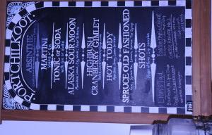 The Port Chilkoot Distillery menu. (Jillian Rogers)