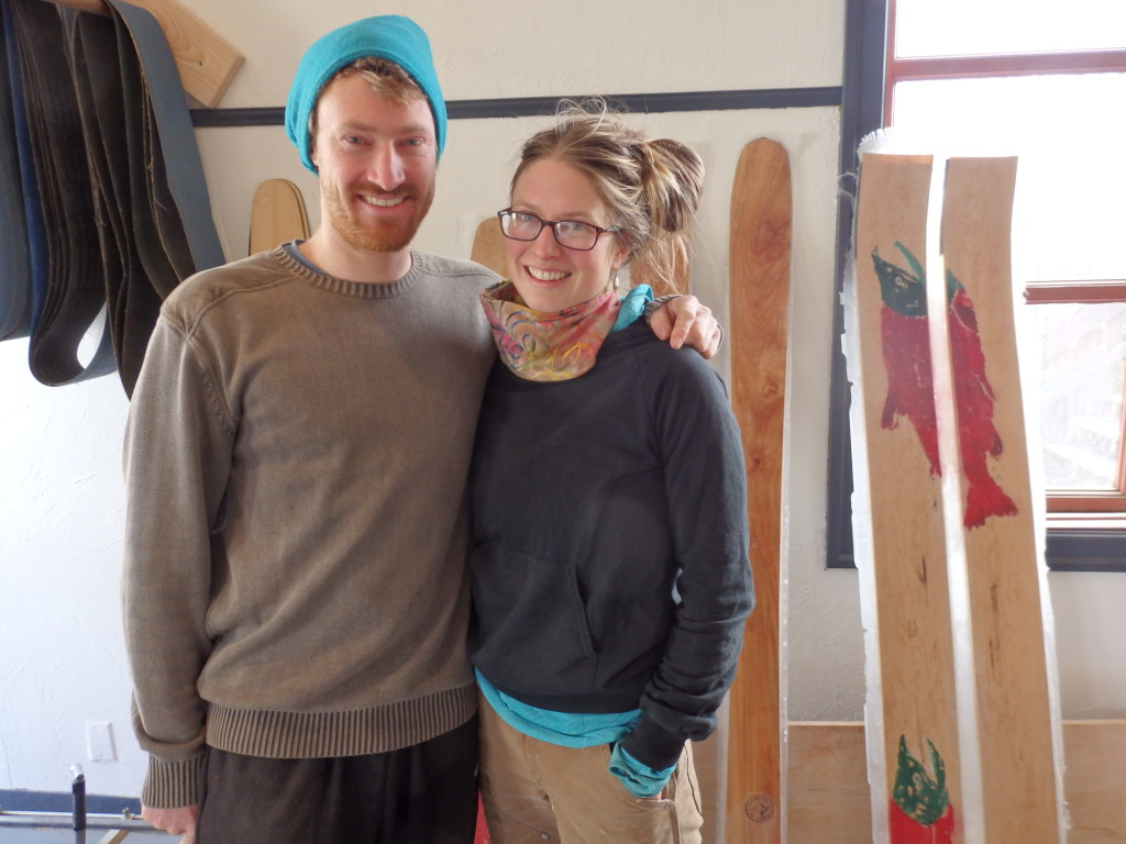 Graham Kraft and Lindsay Johnson in their new Fairweather Ski Works location. (Emily Files)