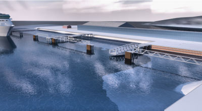 A 3D rendering of the Gateway Project, which includes a floating cruise ship dock. (Chad Gubala and KPFF Engineers)