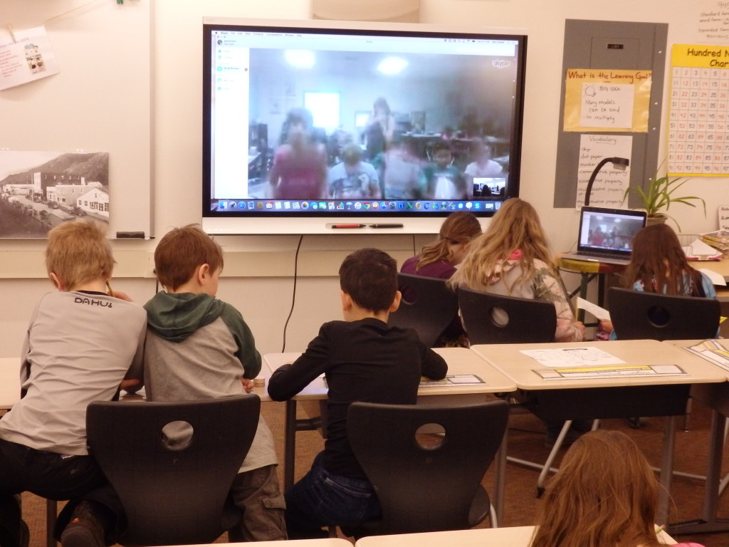 Haines third graders Mystery Skype with a class in Arizona. (Emily Files)