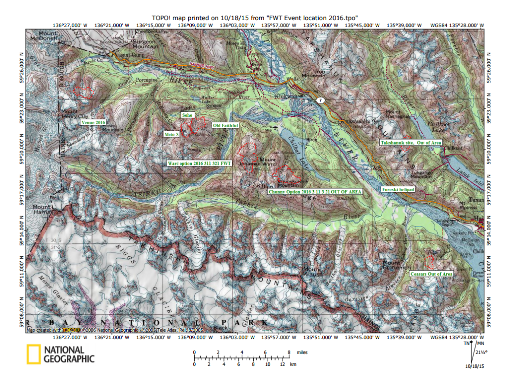This map shows the areas that Freeride World Tour asked to have access to for the March competition. (Haines Borough)
