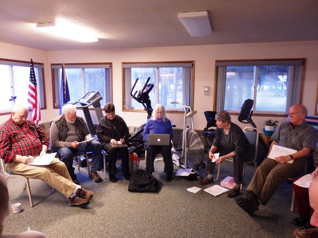 Members of the Senior Citizens Center Board meet in the center Thursday. (Emily Files)